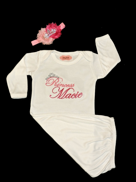 Personalized Baby Girl Layette Gown Little Princess