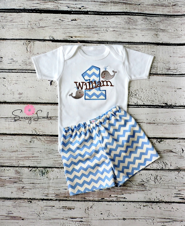 14ae8027ea22d Personalized Baby Boys First Birthday Outfit / Whales