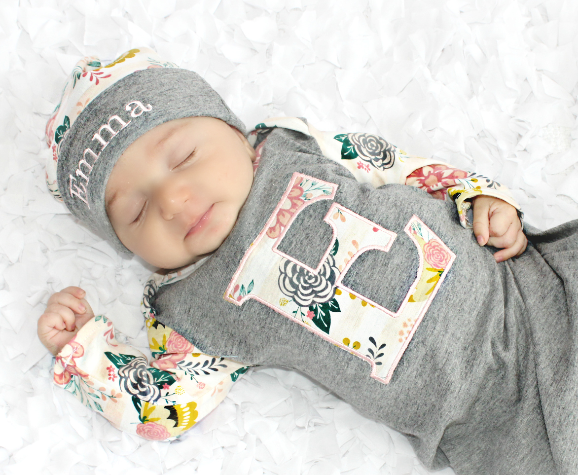 Baby Girl Newborn Gown Personalized Floral Gift Set