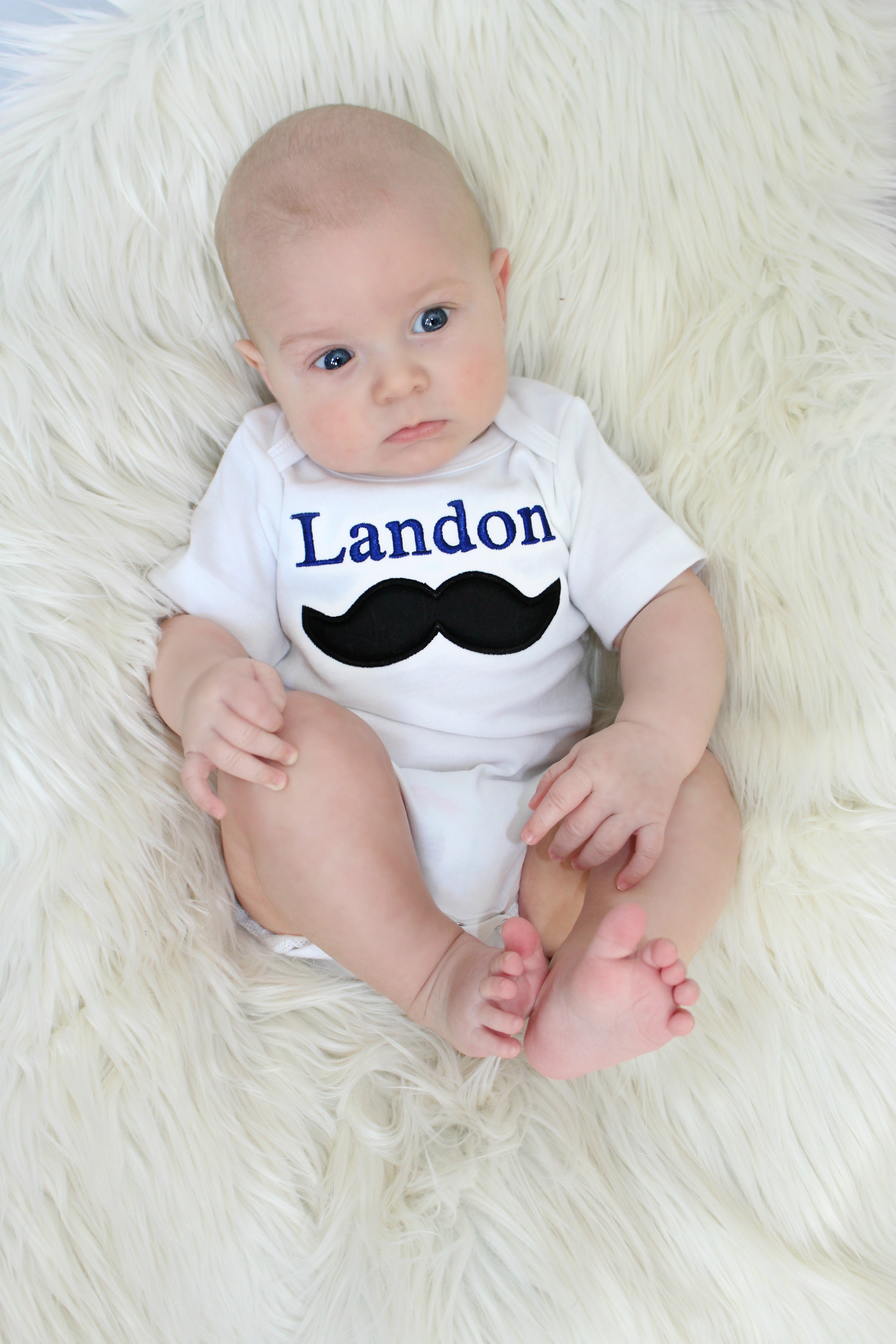 Personalized Mustache Baby Boy Clothes Embroidered