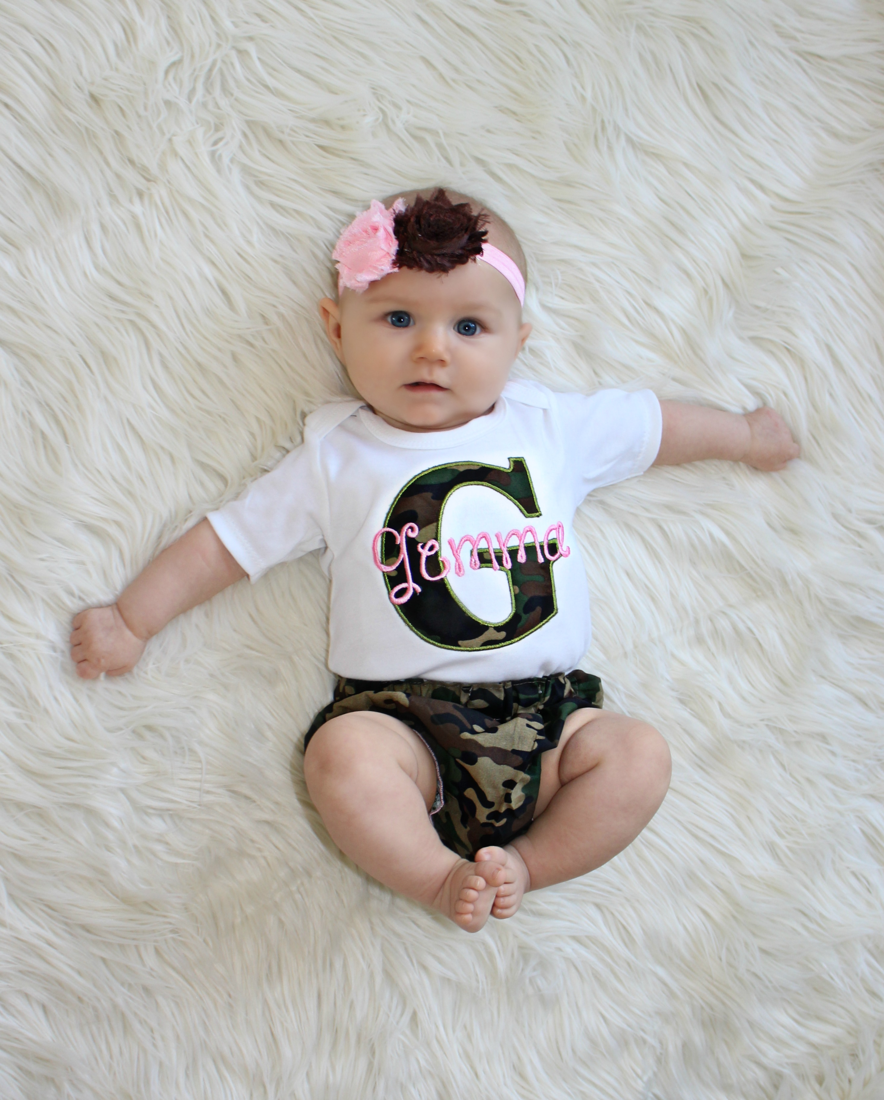 Camo Personalized Baby Girl Clothes   Camo and Pink 41c5385802a