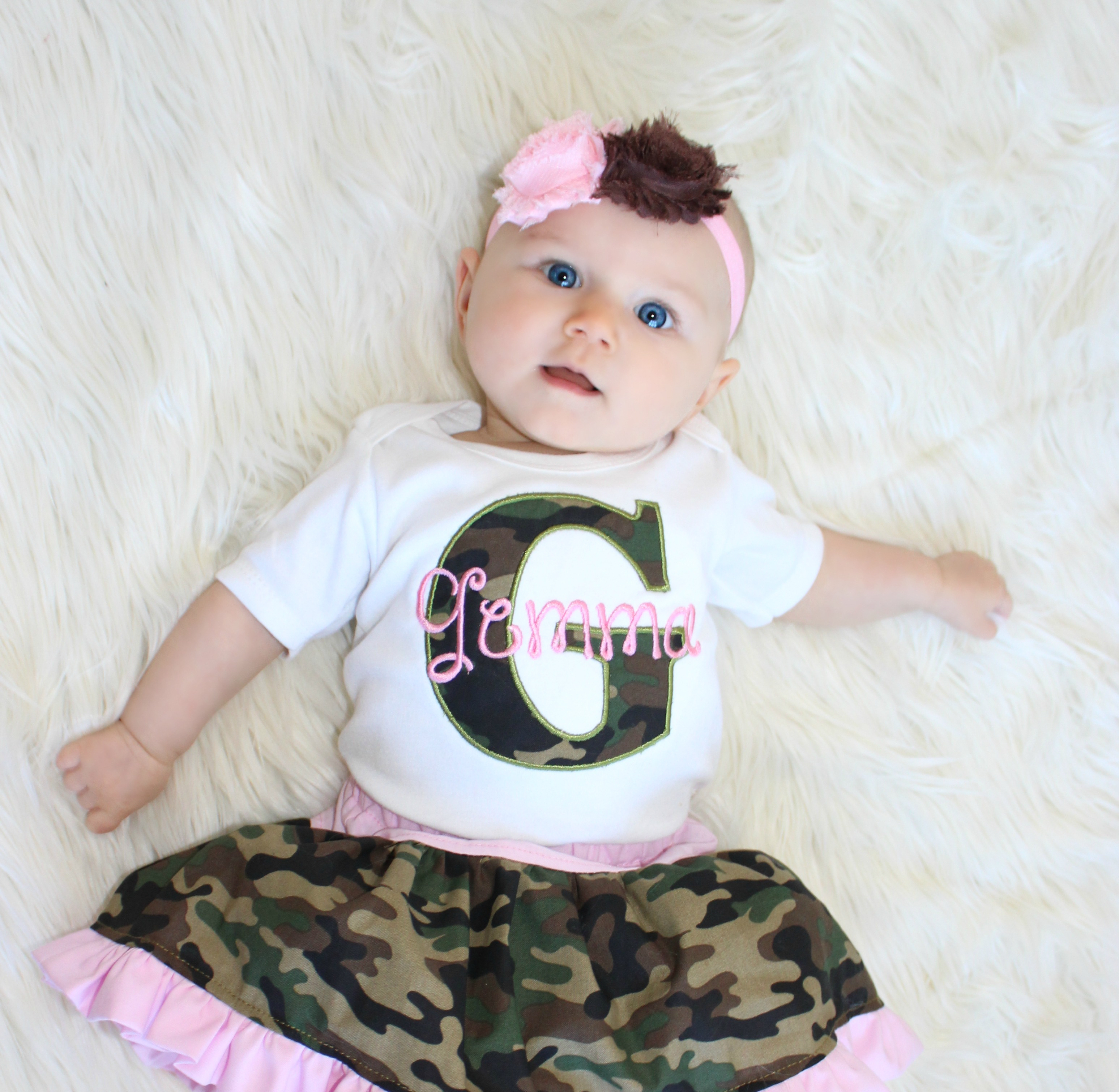 a1ff7a181 Monogrammed Baby Girl Camo Outfit | Sassy Locks