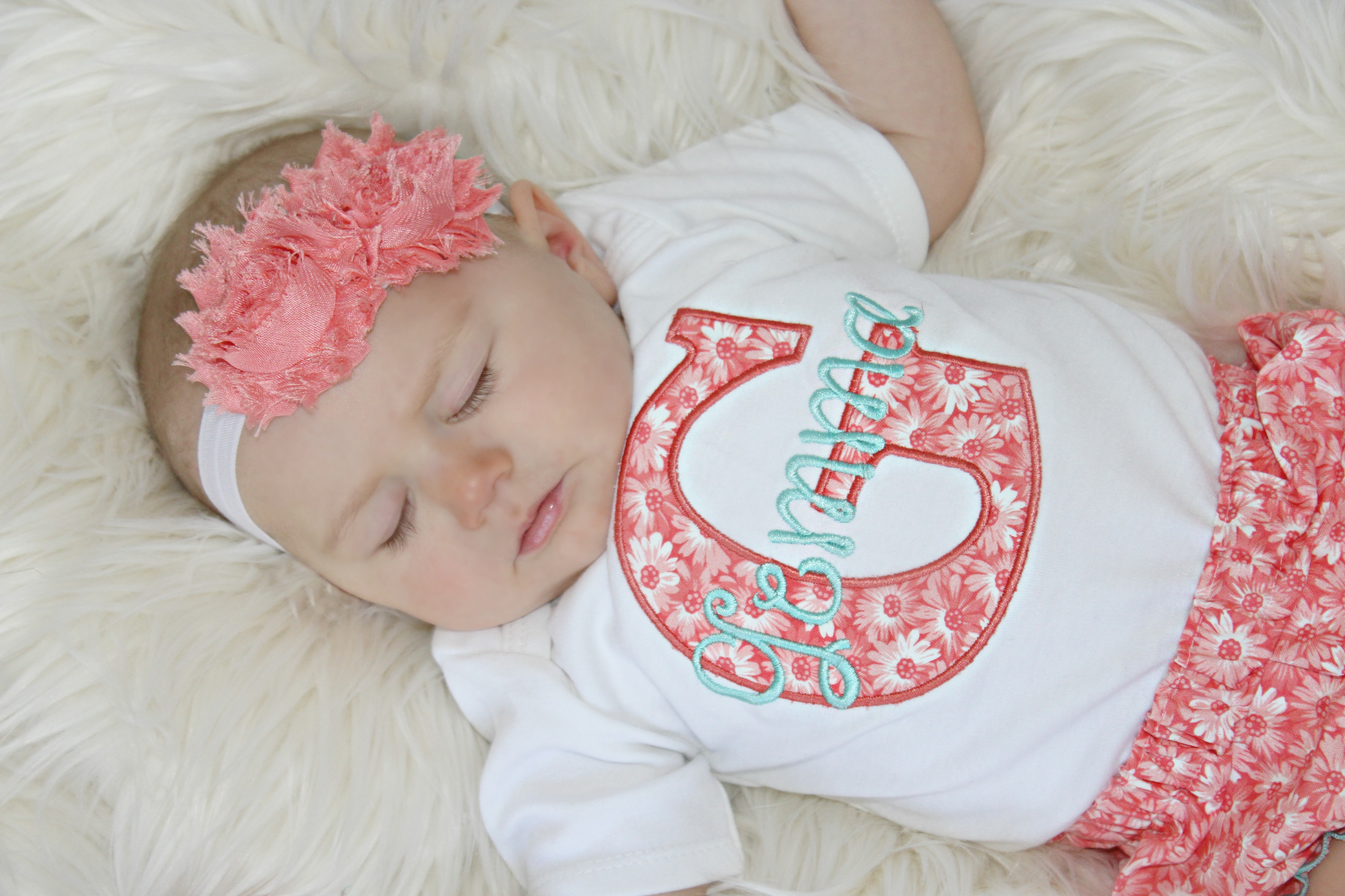 Coral & Teal Personalized Baby Girl Clothes