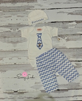Baby Boy Clothes / Chevron Tie Pants & Cap Outfit