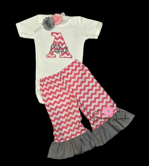 Personalized Baby Girl Ruffle Bottom Pants Outfit   Pink Chevron ... 617b68819e