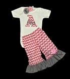 Personalized Baby Girl Ruffle Bottom Pants Outfit / Pink Chevron Gray Ruffle