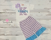Personalized Baby Girl  Ruffle Bottom Pants Outfit / Lavender Chevron Turquoise Ruffle