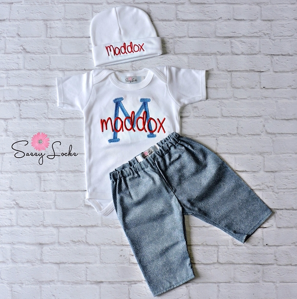 Baby Boy Clothes Denim Look Pants Personalized Bodysuit And Hat