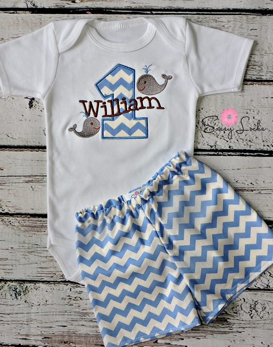 Personalized Baby Boys First Birthday Outfit Whales