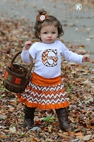 Personalized Baby Girl Clothes / Brown and Orange Chevron Skirt Outfit