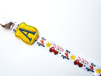 Monogrammed Firefighter Pacifier Clip