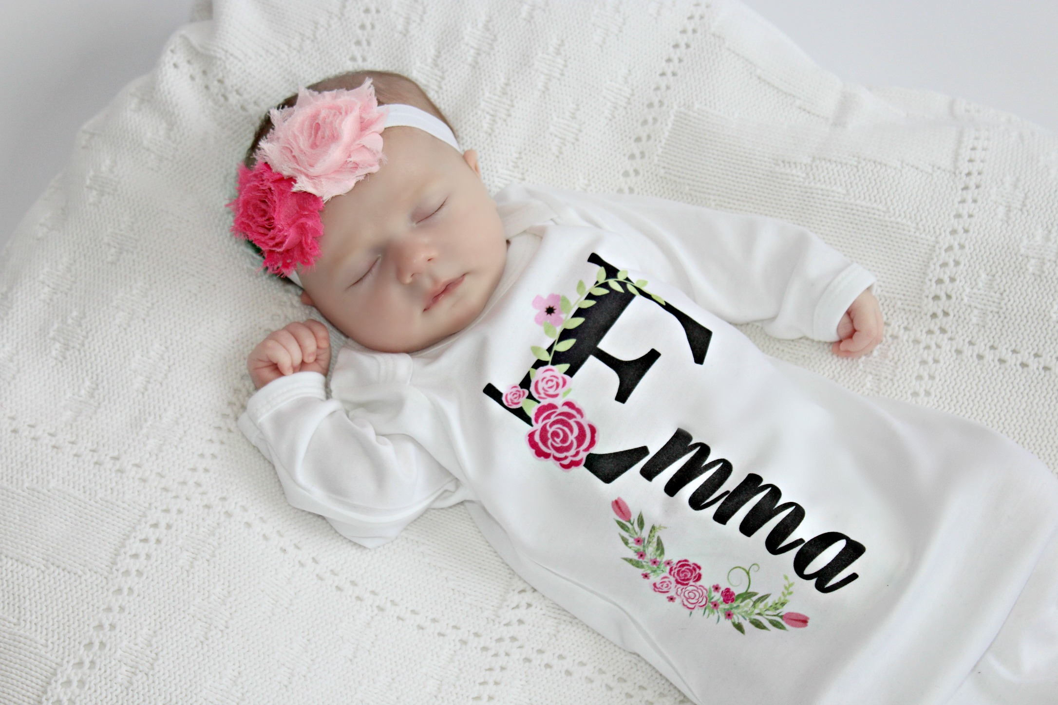 Baby Girl Newborn Gown / Personalized Black & Pink