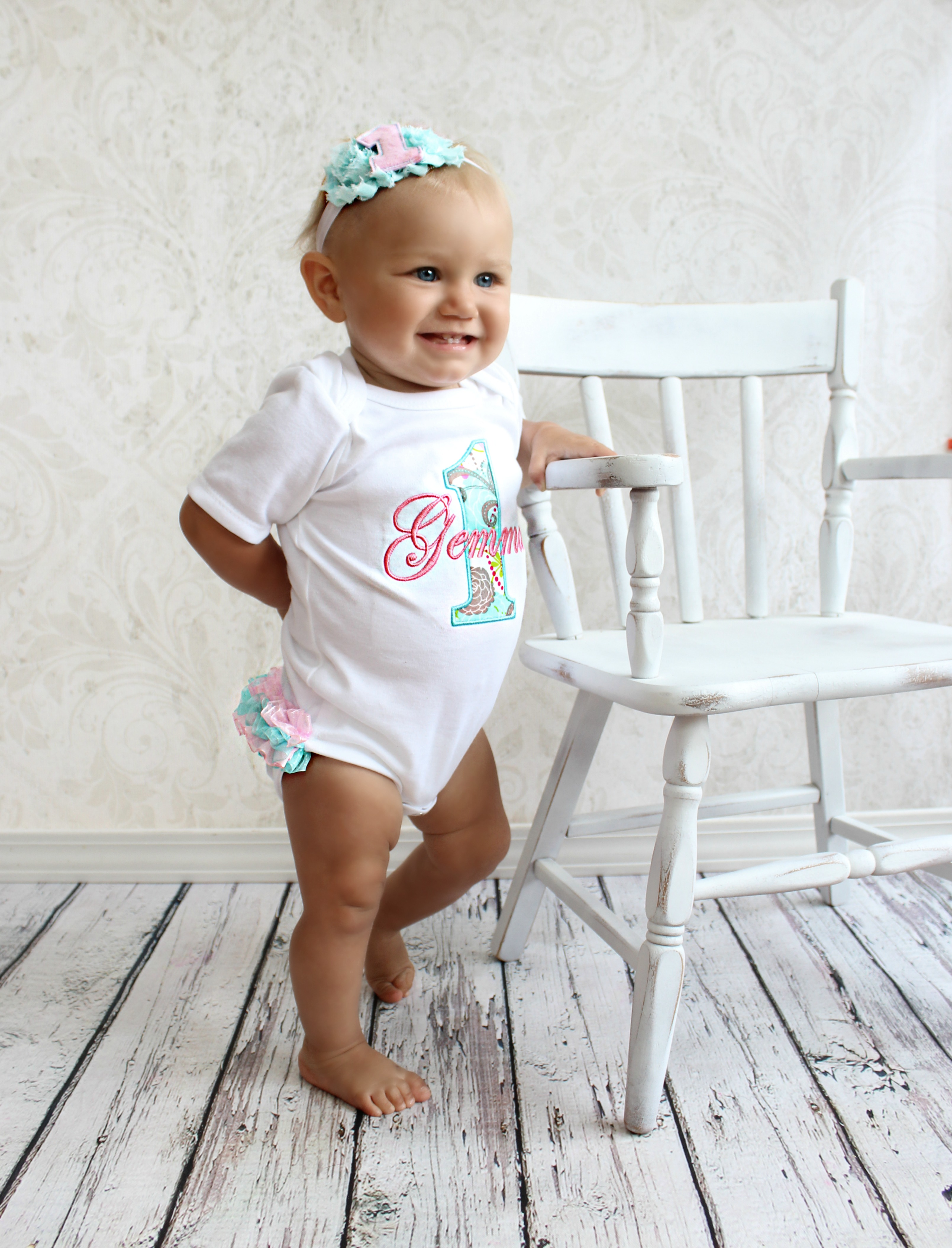 Baby Girl First Birthday Outfit   Ruffle Bottom Teal and Pink a1659acf7f