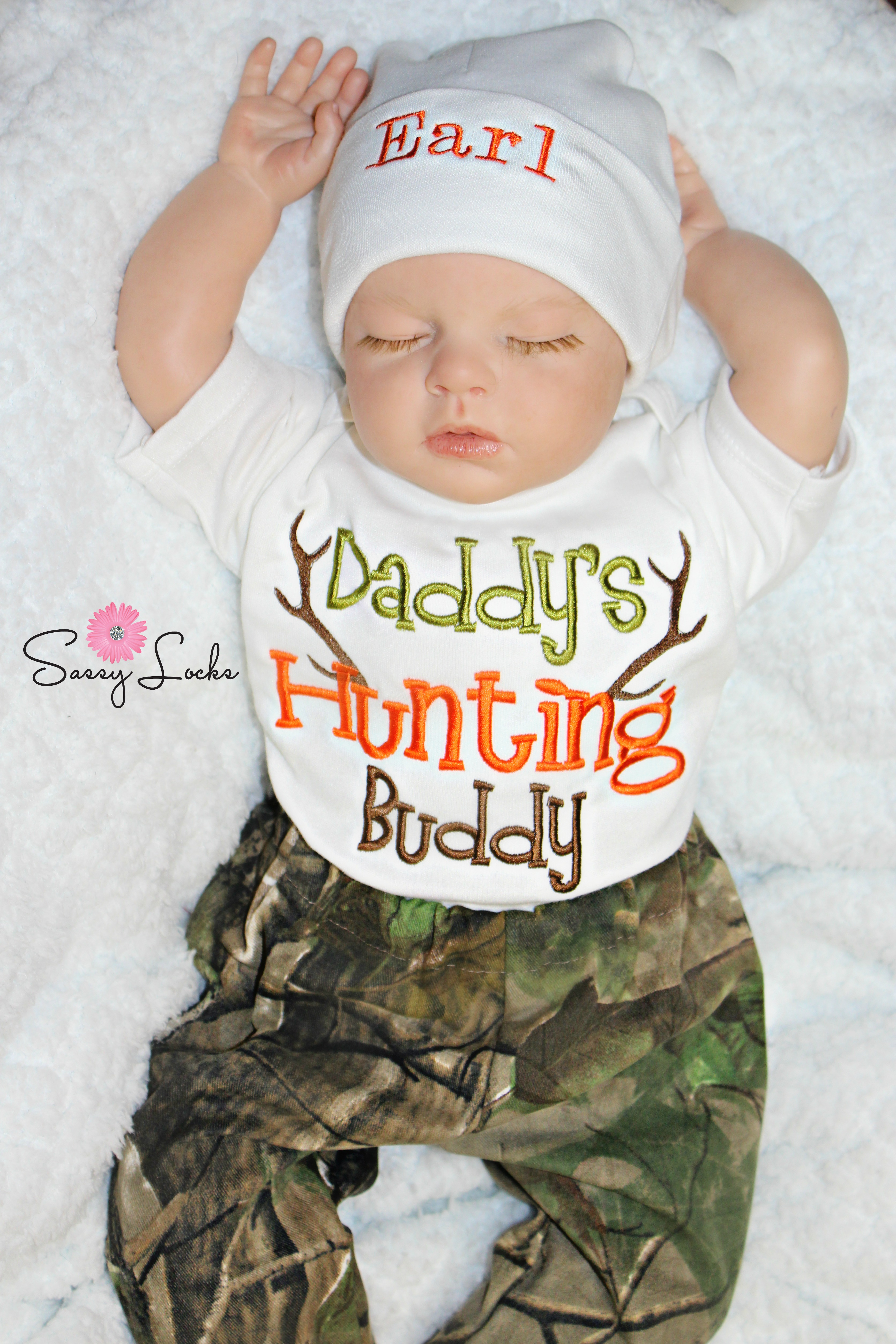 77da78d068f9 Deer Hunting Baby Boy Clothes with Personalized Hat Pants Options