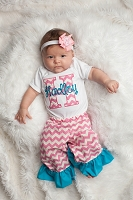 Personalized Baby Girl Clothes Ruffle Bottom Pants Outfit / Pink Chevron Turquoise Ruffle
