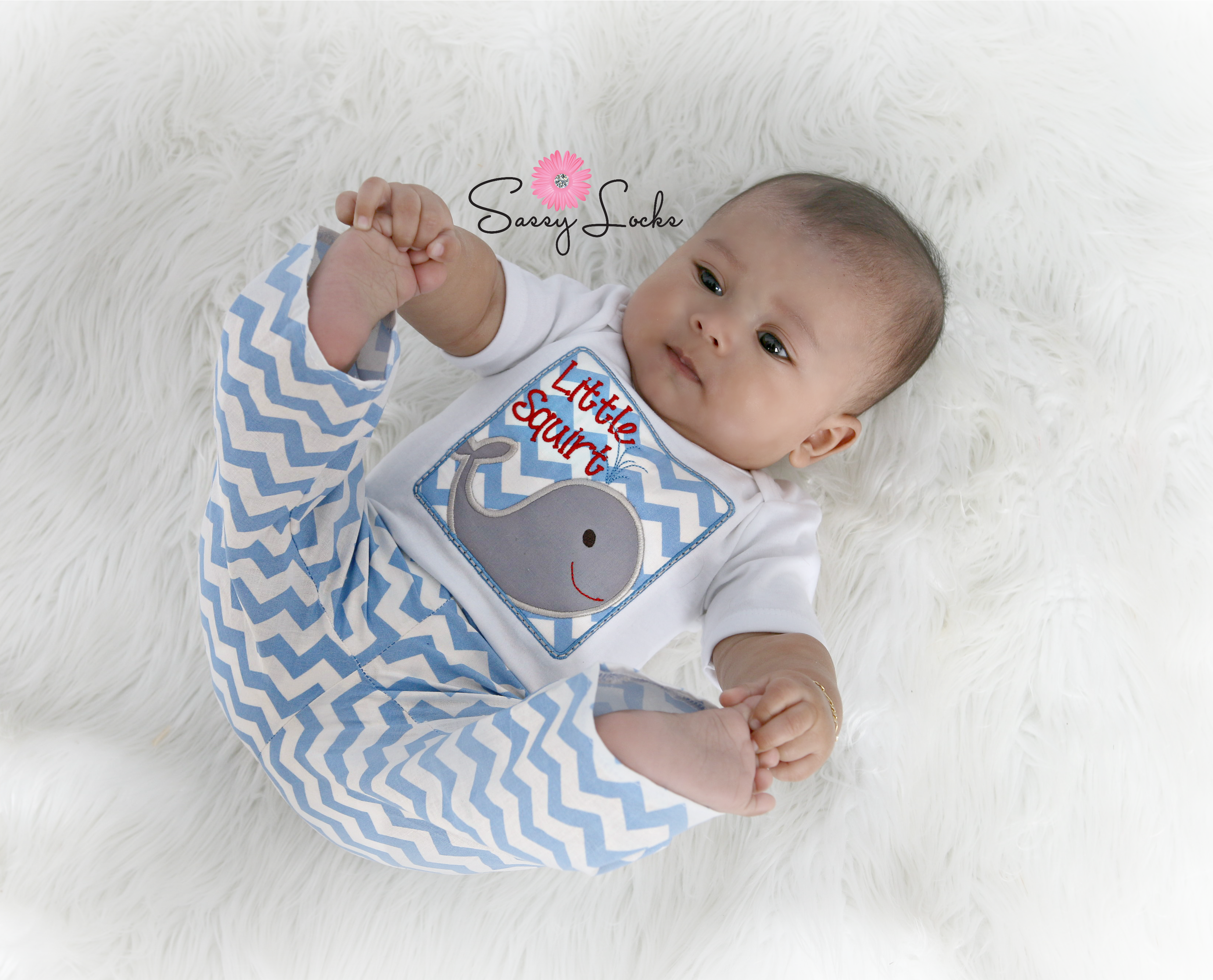 Baby Boy Clothes Little Squirt Whale Outfit Sassy Locks