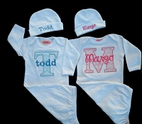Twins Take Home Outfit Chevron Baby Monogram Layette GownsPersonalized Beanie Hat Boy Girl Twins Gift Set