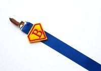 Monogram Superhero Pacifier Clip for Baby Boy Paci Clip
