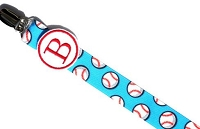 Monogram Pacifier Clip for Baby Boy Baseball Paci Clip
