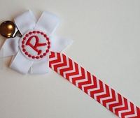 Personalized Pacifier Clip Red and White Chevron Monogram Baby Girl
