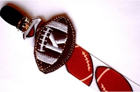 Monogram Football Pacifier Clip for Baby Boy .. Paci Clip