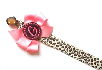 Cheetah Print Monogram Pacifier Clip Holder Baby Girl