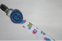 Monogram Pacifier Clip for Baby Boy Robot Paci Clip