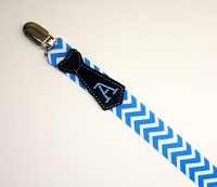 Personalized Pacifier Clip Monogram Tie Pacifier Holder Chevron Baby Boy Tie