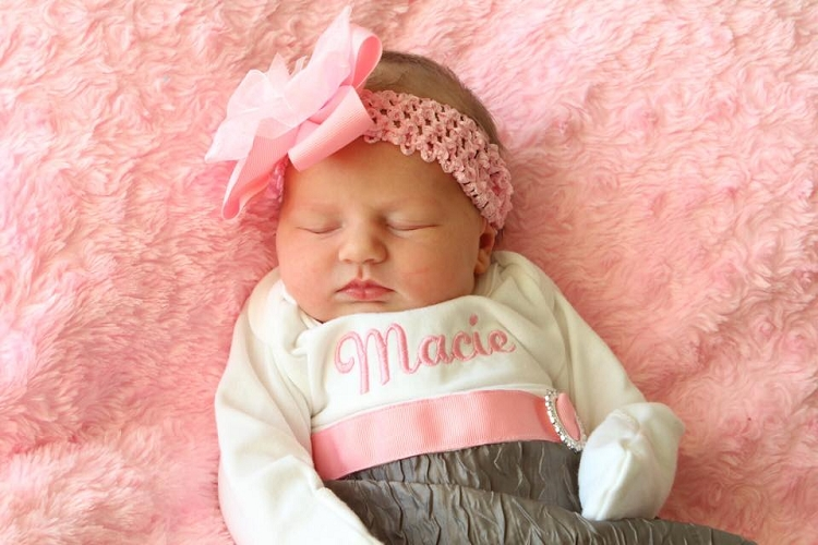 0626dc61c8f0 Personalized Baby Girl Layette Gown   Shabby Chic Gray and Pink
