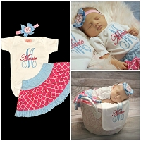 Personalized Baby Girl Clothes / Pink and Blue Quatrefoil Skirt Outfit