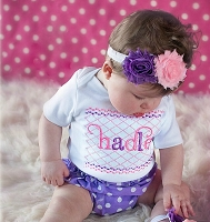 Personalized Baby Girl Clothes / Shabby Chic with Polka Dot (Lavender Pink)