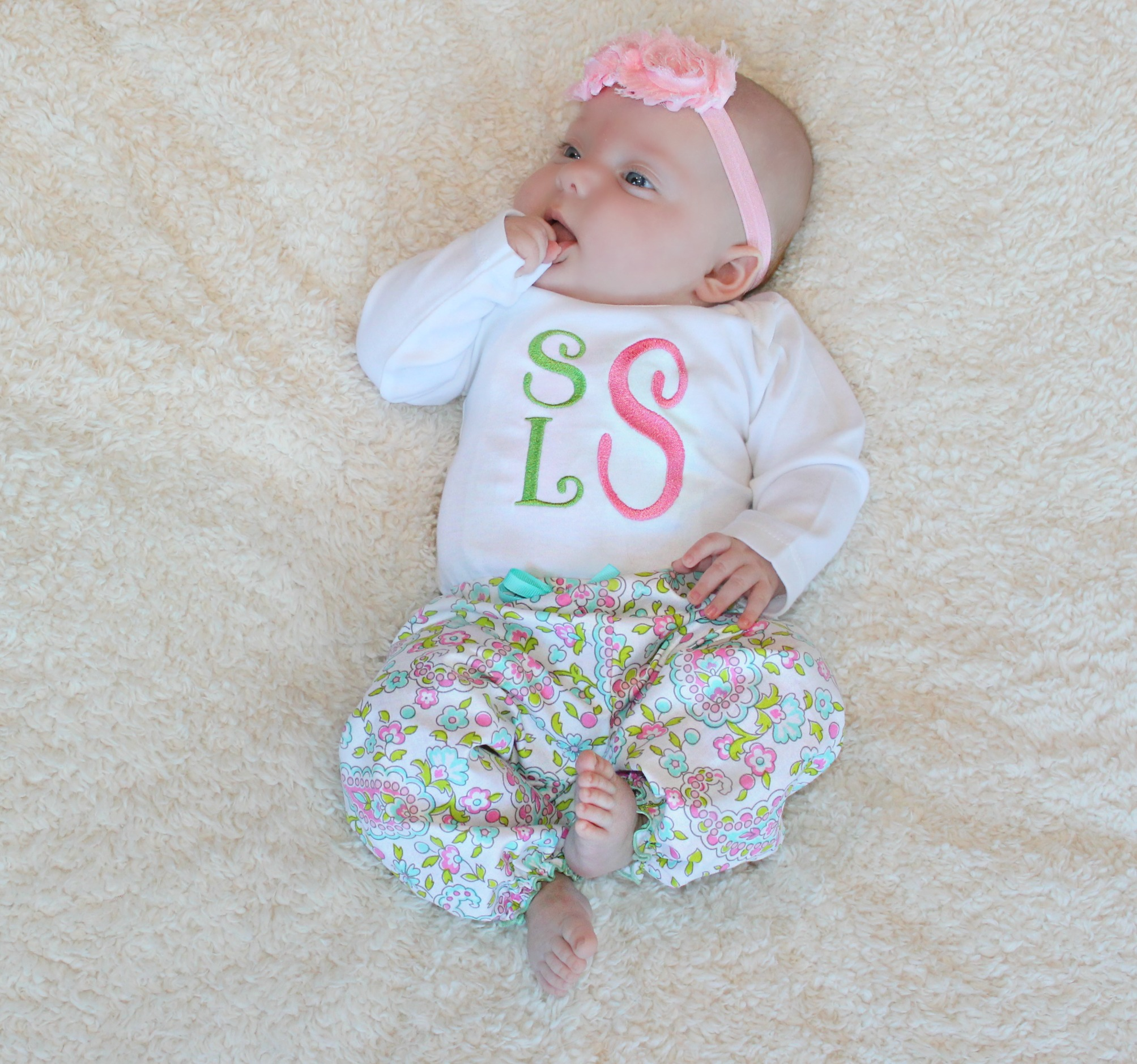 67cf3b672 Baby Girl 3 Letter Monogram Baby Clothes
