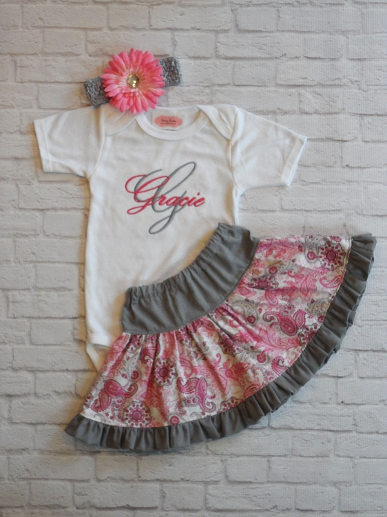 4097a07a Personalized Baby Girl Paisley Outfit   Sassy Locks