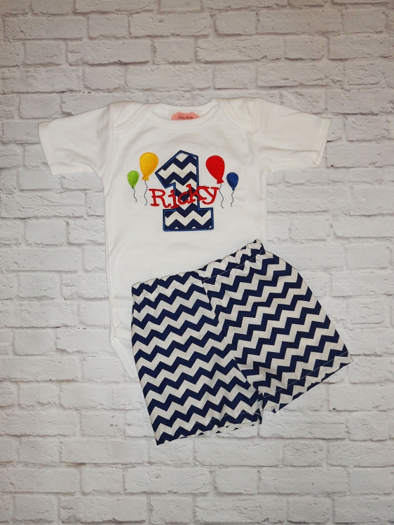 Personalized Chevron Pattern Baby Boys 1st Birthday Outfit With Balloons