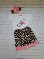 Personalized Baby Girl Ruffle Bottom Pants Outfit / Giraffe Print