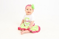 Personalized Baby Girl Clothes / Lome Green Chevron and Hot Pink