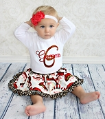 Personalized Girl Christmas Outfit / Cheetah Santa