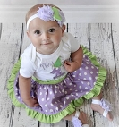 Lavender and Lime Green 1st Birthday Girl Outfit