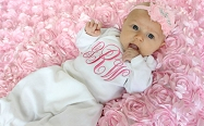 Monogrammed Baby Girl Layette Gown & Bonnet Option