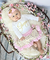 Pink Glitter Gold Personalized Baby Girl Skirt Outfit