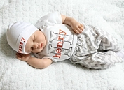 Newborn Baby Boy Clothes / Orange & Gray Chevron Outfit