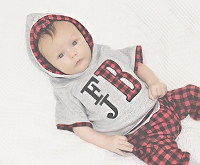 Monogrammed Buffalo Plaid Baby Boy Outfit
