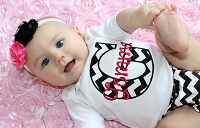 Personalized Baby Girl Clothes / Black Chevron Hot Pink