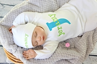 Baby Boy Clothes / Personalized Turquoise & Lime Green Layette