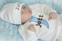 Personalized Baby Boy Clothes / Baby Blue & Brown