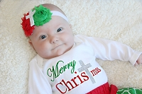 Girl Christmas Outfit / Merry Christmas with Cross