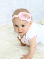 Gold Tiara Headband / Shabby Chic Flowers Pink & Gold