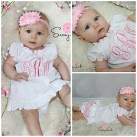 Monogram Baby Girl Dress Ruffle Diaper Cover & Headband