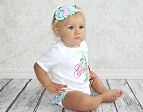 Baby Girl First Birthday Outfit / Ruffle Bottom Teal and Pink