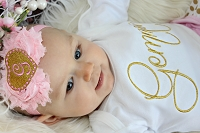 Monogram Baby Headband / Shabby Chic Glitter Gold Monogram Heart